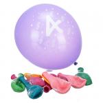 Komplet 10 balonów z napisem '4 Happy Birthday'. Różne kolory.