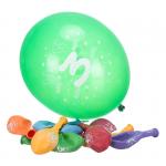 Komplet 10 balonów z napisem '3 Happy Birthday'. Różne kolory.