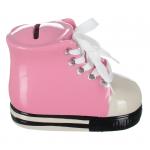 Skarbonka ceramiczna 'Trampek' kolor różowy. Rozmiar 12x8 cm. Pakowane w ozdobny kolorowe pudełko