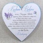 Drewniana tabliczka w kształcie serce z napisem 'Kochani Rodzice... w dniu naszego ślubu'. Wzór 27. Rozmiar 20cm