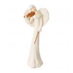Anioł ze skrzypcami. Kolor anioła biały, kolor skrzypiec brazowo-złoty. Wysokość 40.5 cm
