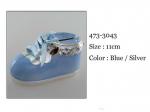 Skarbonka w kształcie dziecięcego bucika, kolor niebieski. 11 cm