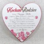 Drewniana tabliczka w kształcie serce z napisem 'Kochani Rodzice w dniu naszego ślubu...'. Wzór 22. Rozmiar 20 cm