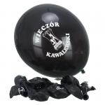 Komplet 10 balonów z napisem 'Wieczór Kawalerski'. Kolor czarny.