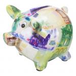 Skarbonka ceramiczna świnka w banknoty euro.Rozmiar 9x7 cm.Skarbonki pakowane wjednostkowe opakowania ozdobne.