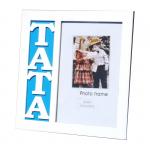 Ramka na zdjęcie w kolorze białym z napisem 'TATA'Rozmiar zdjecia 10x15 cm. Rozmiar ramki 17.5x17.5 cm
