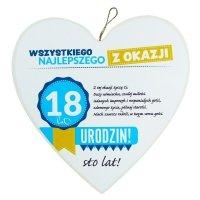 Drewniana tabliczka 18 urodziny w kształcie serca Wszystkiego najlepszego z okazji 18 urodzin... Biała