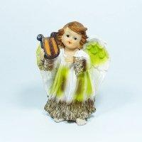 Figurka aniołek grający, zielony