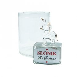 Figurka słonik na szklanym postumencie w opakowaniu Na Fortunę