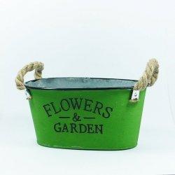 Doniczka z napisem flowers garden zielony