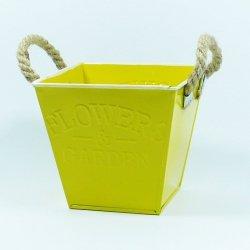 Doniczka z napisem flower kolor żółty