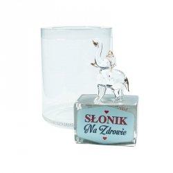 Figurka słonik na szklanym postumencie w opakowaniu Na Zdrowie