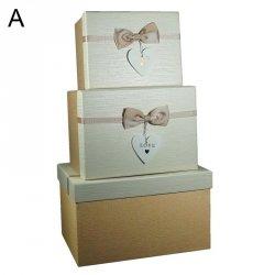 Komplet 3 pudełek prezentowych, dwa wzory