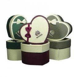 Komplet 6 pudełek prezentowych w kształcie serca mix wzorów