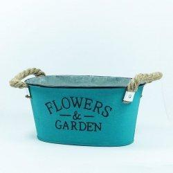 Doniczka z napisem flowers garden turkus