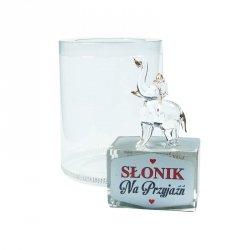 Figurka słonik na szklanym postumencie w opakowaniu Na Przyjaźń