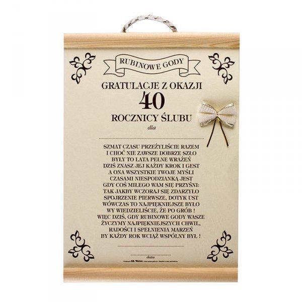 GRATULACJE Z OKAZJI 40 ROCZNICY ŚLUBU