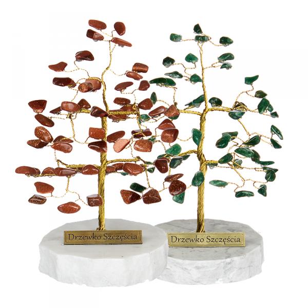 Drzewko szczęścia. Ok. 50 kamieni szlachetnych. Różne rodzaje. Średnica 11 cm wys. 15 cm.