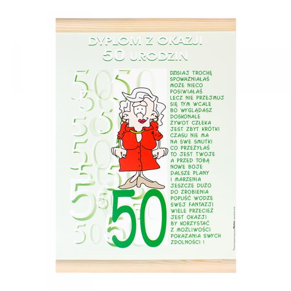 """DYPLOM KOLOROWY """"50 URODZINY PANI"""""""
